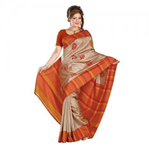Kavvya Fashion Silk Saree (Silk Shine1012 B_Beige And Ornage)