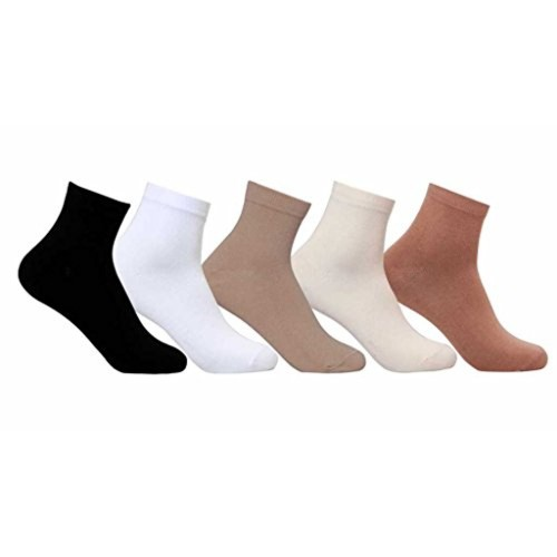 Supersox Multi Color Cotton Ankle Length Socks Plain - Pack of 5