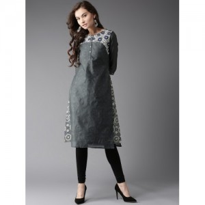 Moda Rapido Women Blue & Grey Printed Layered A-Line Kurta