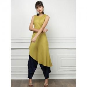all about you from Deepika Padukone Women Green Asymmetrical Hem Kurta
