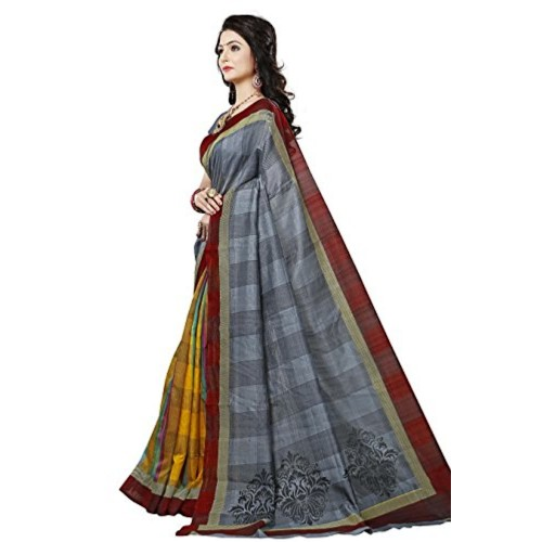 Vatsla Enterprise Women's Cotton silk Saree (VTSLSLK007GREY_GREY)