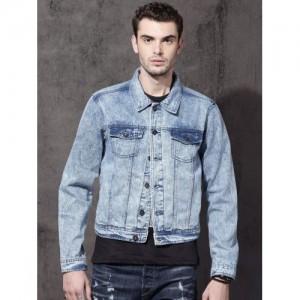 Roadster Men Blue Solid Denim Jacket
