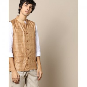 VIVID INDIA Textured Nehru Jacket with Wooden Buttons