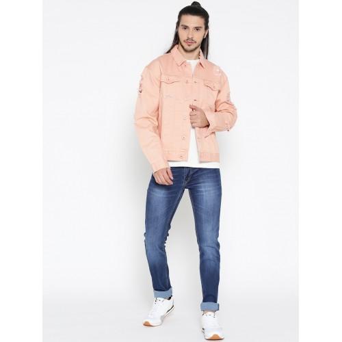 buy forever 21 men pink solid denim jacket online looksgud in