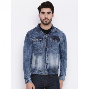 People Men Blue Washed Denim Jacket