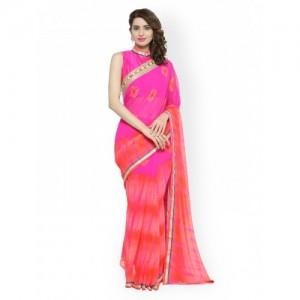Chhabra 555 Pink & Orange Poly Georgette Colourblocked Saree