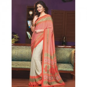Triveni Sarees Orange Crepe Printed Saree