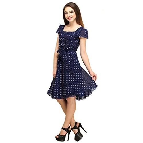 Color Fuel Dark Blue Georgette A-Line Polka Print Dress