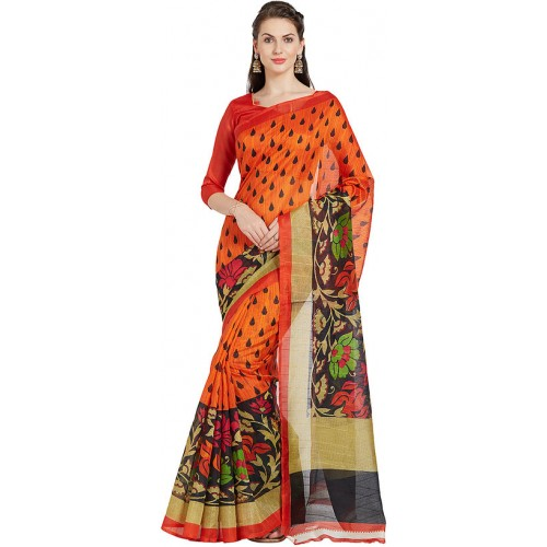 ec2f719a6da Buy Ishin Orange Bhagalpuri Printed Silk Saree online