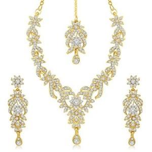 Sukkhi Trendy Gold Plated Australian Diamond Stone Studded Necklace Set for Women