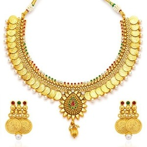 Sukkhi Gold Plated Temple Jewellery Coin Necklace Set