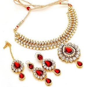 Kundan Bridal Necklace Set puwai design Real Look Diamond Jewelry & tika