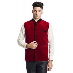 Royal Red Velvet Sleeveless Nehru Jacket