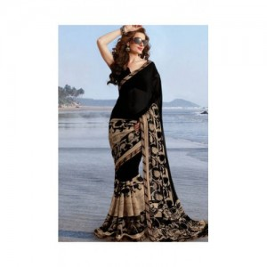 new Black Art Silk Floral Saree With Blouse