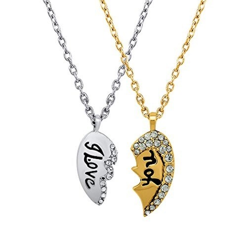 Buy mahi valentine crystal i love you broken heart gold silver mahi valentine crystal i love you broken heart gold silver pendant aloadofball Choice Image