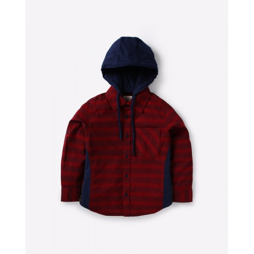 AJIO Red Cotton Striped Shirt with Contrast Hood