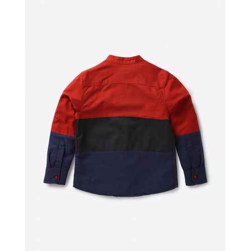 AJIO Red Cotton Colourblock Panelled Shirt