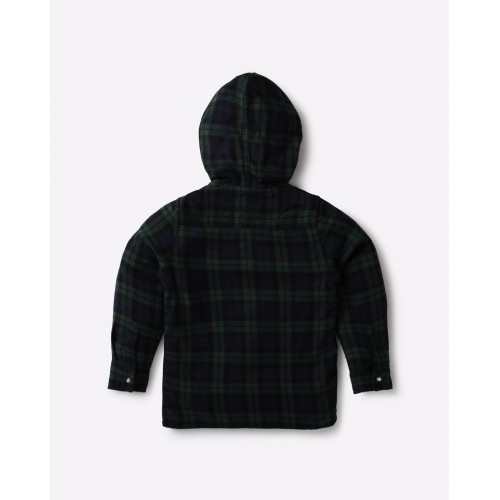 AJIO Blue Cotton Checked Shirt with Hood