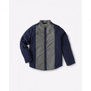 AJIO Blue & Gray Cut & Sew Shirt with Mandarin Collar