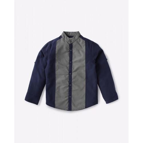 AJIO Blue & Gray Cut & Sew Shirt with Mandarin Collar