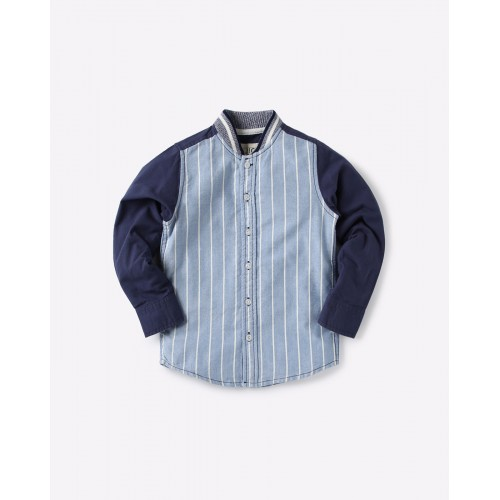 AJIO Blue Cotton Striped Shirt with Ribbed Collar