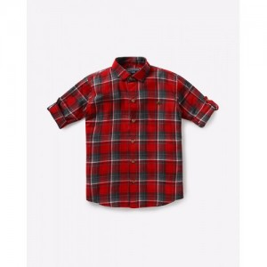Ajio Red Cotton Checked Shirt with Roll-Tab Sleeves