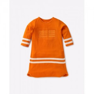AJIO Orange Cotton Shift Dress with Stripes