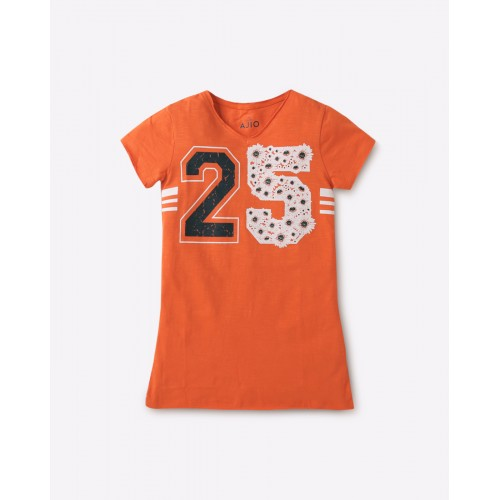 AJIO Orange Cotton V-neck Numerical Print Tunic