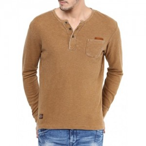 Mufti solid brown cotton henley t-shirt
