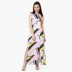 CODE Printed Double Front Slit Maxi Dress
