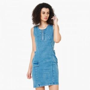 ELLE Solid Denim Paneled Cut Out Dress