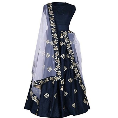 Vastra VIlla Navy Blue Taffeta Semi Stitched Lehenga Choli