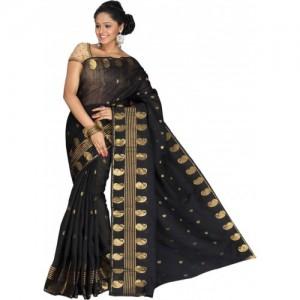 Pavechas Printed Banarasi Cotton, Net, Jacquard Saree