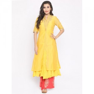 Biba Yellow Embroidered Kurta