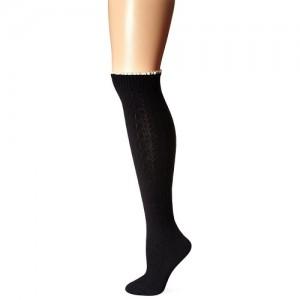 K. Bell Socks Black Cotton Knee High Sock