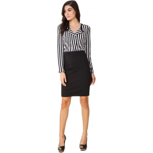 Texco Black & White Cotton Striped Casual  Shirt