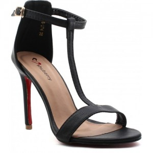 Shuberry Black Partywere Artificial leather 4 Inch Heels sandals