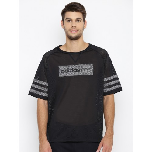 a123506d2730 ... Adidas NEO Men Black CS Mesh Printed Round Neck T-shirt ...