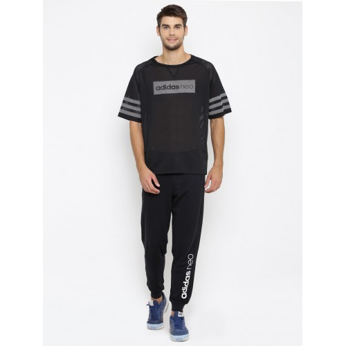 f6dc8a26efb3 Buy Adidas NEO Men Black CS Mesh Printed Round Neck T-shirt online ...