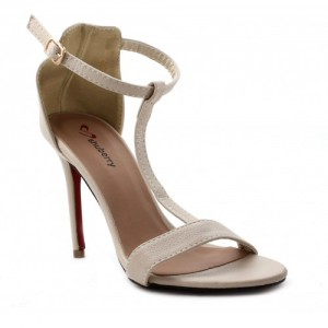 Shuberry  Beige Heels Partywere Leather 4 Inch sandals
