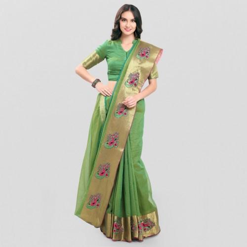Buy Sarngin Boutique Embroidered Kanjivaram Banarasi Silk Saree