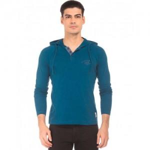 Cherokee Raglan Sleeve Hooded Henley T-Shirt
