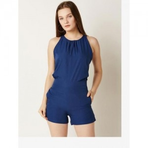 Miss Chase Women's Navy Blue Mini Playsuit