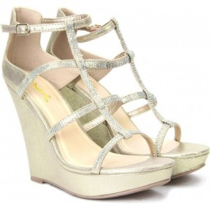 QUPID Gold Fabric 4 inch  Buckle CPMFB Wedges heels sandal.