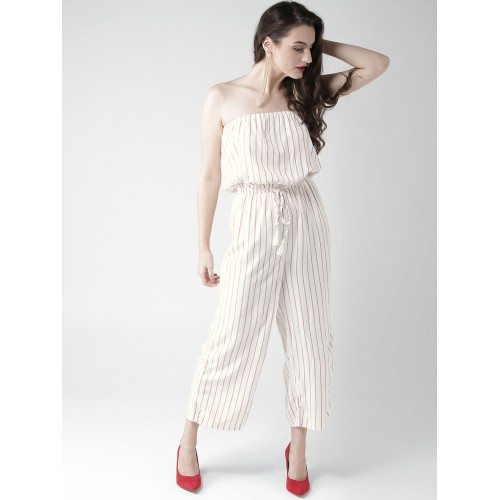 1709a6b6c9d Buy FOREVER 21 White   Red Striped Jumpsuit online