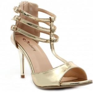 Shuberry Synthetic 3.5 inch Gold Heels