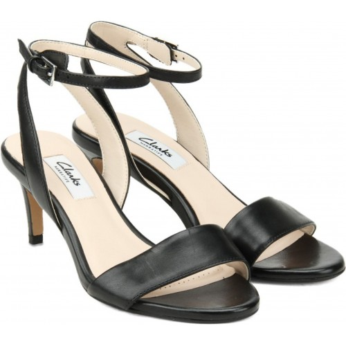 6f58c9ec7328 Buy Clarks Casual leather 2 inch buckle Black Leather Heels Sandals ...