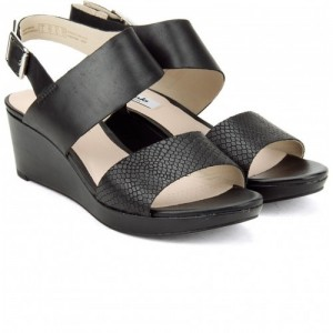 Clarks Casual  Black Leather Wedges Sandals