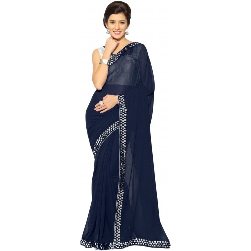 17c972273b Buy Mirchi Fashion Solid Bollywood Faux Georgette Saree online ...
