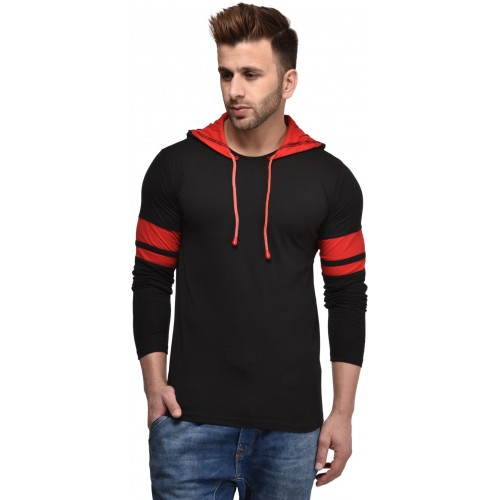 Kay Dee Black Cotton Solid Hooded T-Shirt